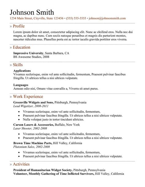 exle of resume templates 7 sles of how to make a professional resume exles