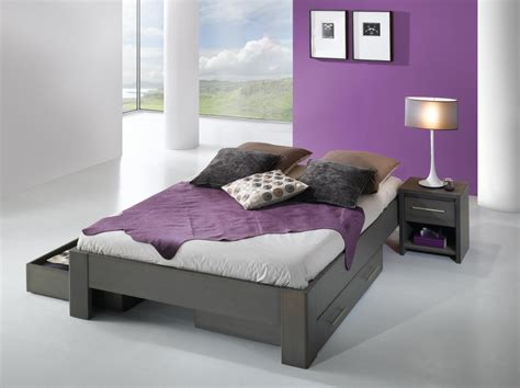 la chambre coucher cadre de lit ines avec t 234 te de lit ath 233 na m 233 tal titane