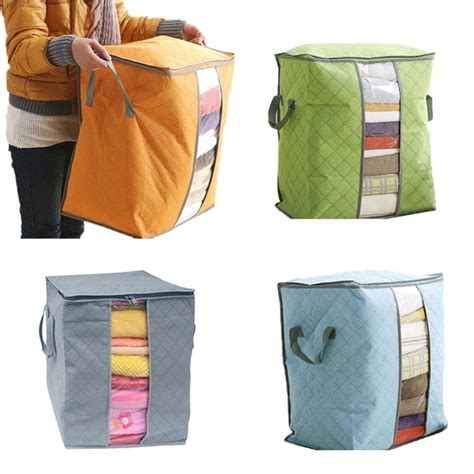 pillow storage bags large clothes bedding duvet zipped pillows non woven