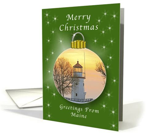 merry christmas  maine lighthouse ornament card