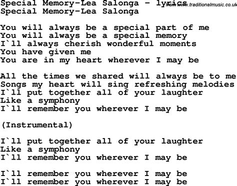 song special song lyrics for special memory lea salonga