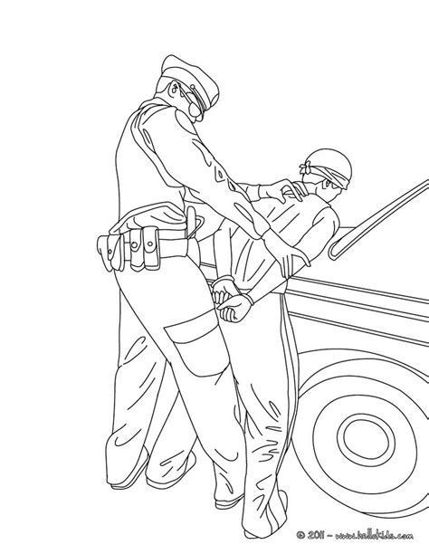 policeman arresting a thief coloring pages hellokids com