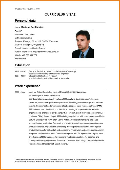 6 english cv model mail clerked