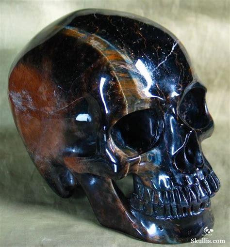 5 0 quot blue gold tiger eye carved skull