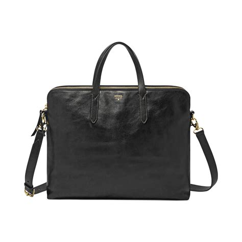 fossil sydney leather work bag in black lyst