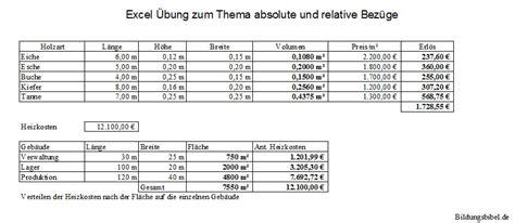 Musterbewerbung Lehrer Grundschule Absolute Und Relative Bez 252 Ge Excel 220 Bungen Und Aufgaben Kostenlos Downloaden