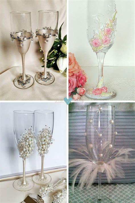 decorar la boda copas para novios ideas para decorar copas de brindis de