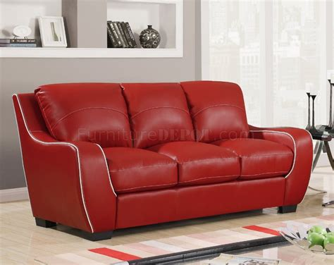 red bonded leather sofa u8080 sofa in red bonded leather by global furniture usa