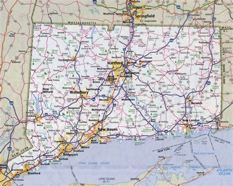 map of towns large detailed roads and highways map of connecticut state
