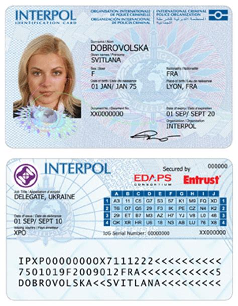 interpol id card template secure id cards images