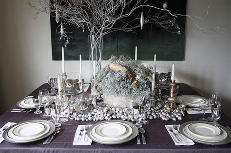 Silver Table Decorations by Winter Table Recipes Hostess With The