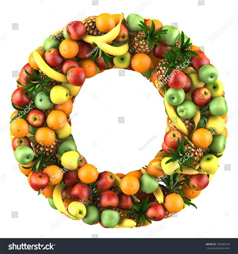 vegetables 5 letters royalty free letter o made of fruits isolated on