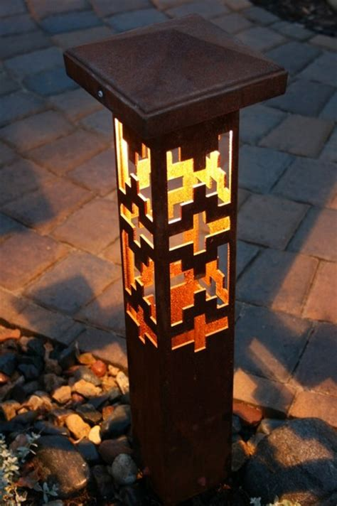 Decorative Steel Bollard Lights Contemporary Outdoor Decorative Garden Lights