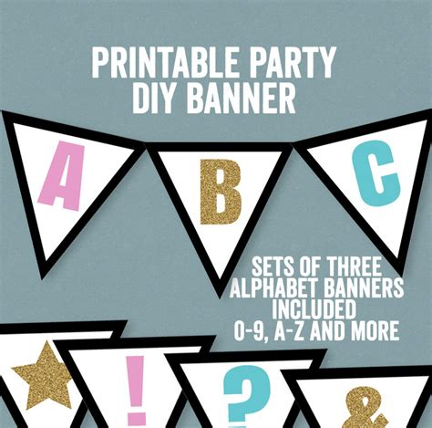 Set Excel Kid By Z Shop diy bunting printable happy birthday banner a z
