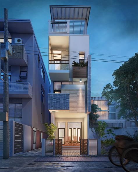 small narrow house 3d visualization fresh design