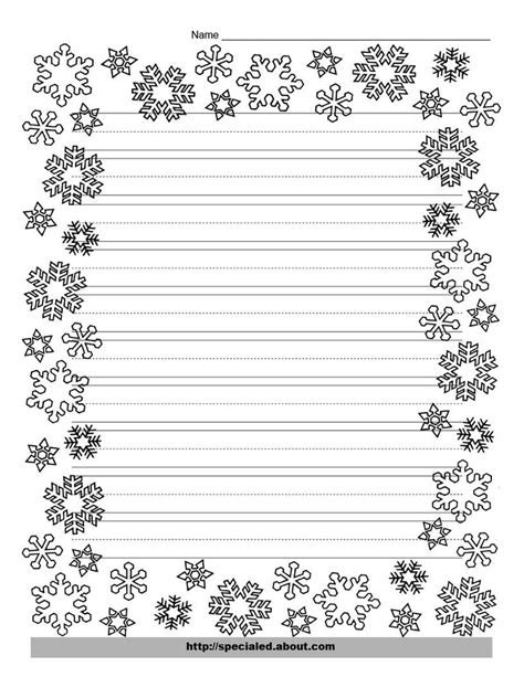 Christmas Writing Paper With Decorative Borders Snowflake Stationery Template