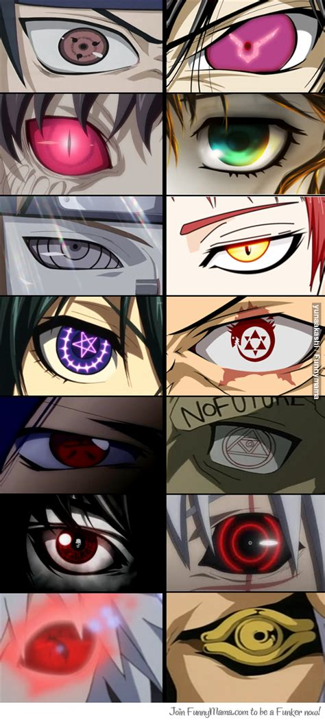 how many anime eyes can you name i see 1 naruto 2 code