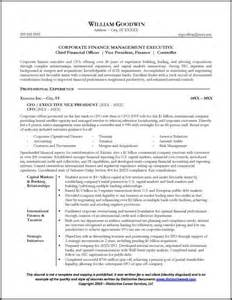 Cfo Resume Templates by Resume Sle For A Cfo