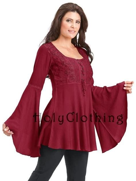 Jaketsweaterhoodie Boho Sweater Maroon Colour Wanita ruby rhiannon renaissance embroidered lace up bell sleeve tunic top burgundy shop by