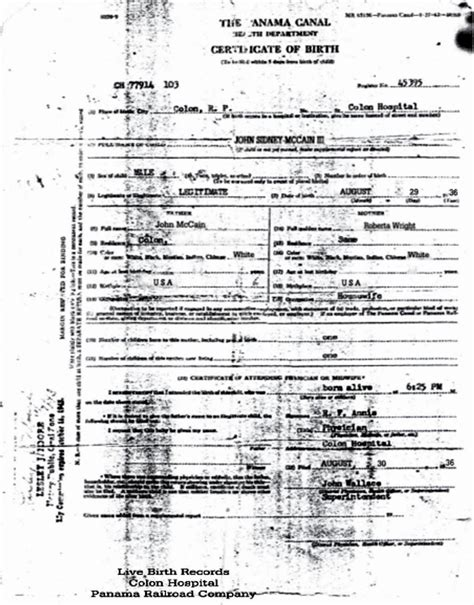 Wisconsin Birth Records Free File Mccain Certificate Of Birth Jpg Wikimedia Commons