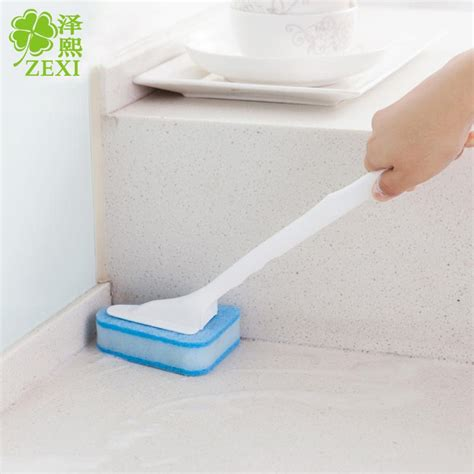 bathtub cleaning brush 2018 long handle triangular sponge brush brush cleaning the bathroom floor tile