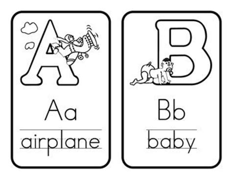 free printable alphabet flash cards black and white coloring bulletin board borders and free items on pinterest