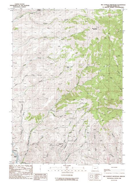map of oregon lookouts big lookout mountain topographic map or usgs topo 44117e3