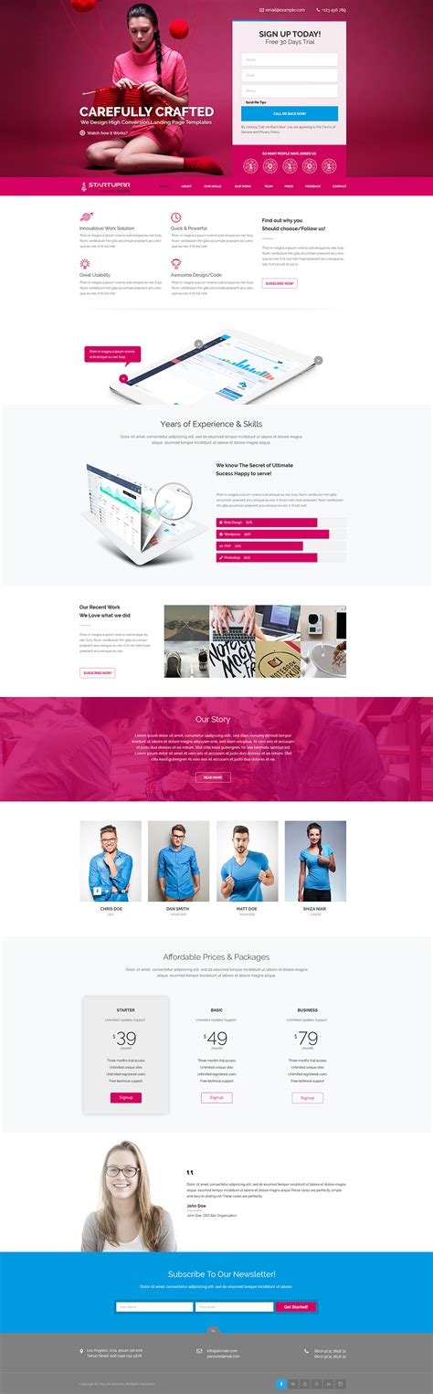 product layout psd product and services website landing page template free