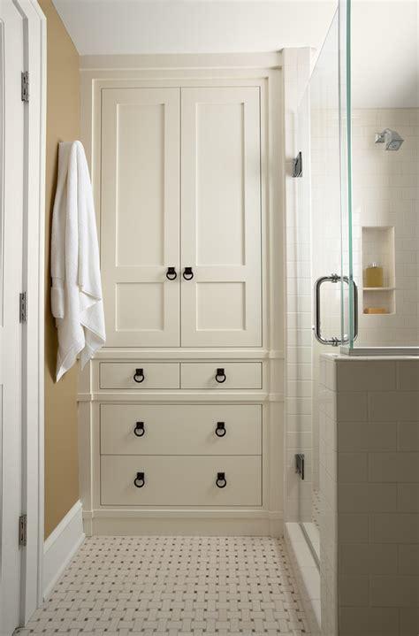 built in linen closet bathroom transitional with linen