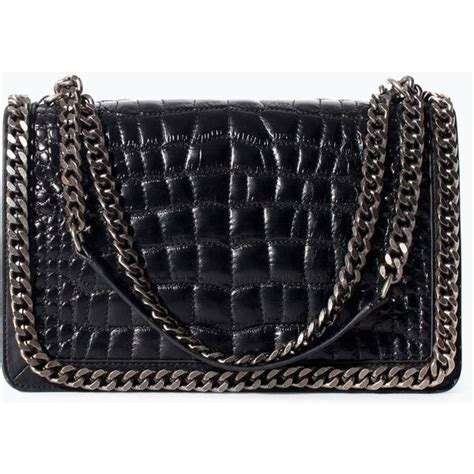 zara croc and chain city bag 179 liked on polyvore