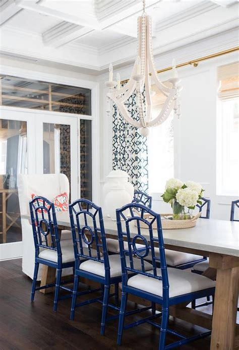 blue dining room furniture coffered dining room ceiling with beaded wood chandelier