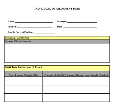 development plan template for employees sle development plan template 8 free documents in