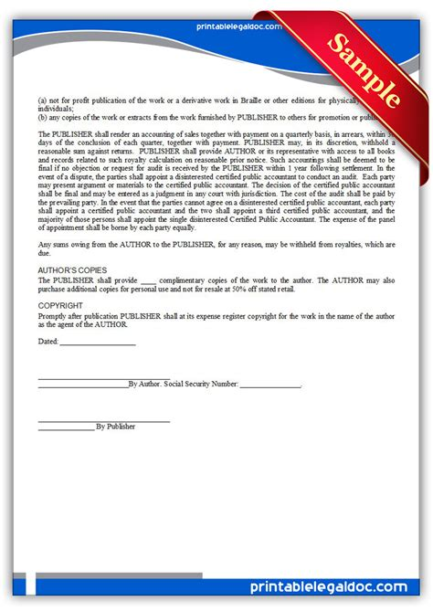 publication template free printable book publication agreement form generic