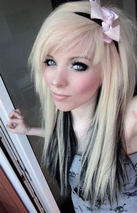 emo hairstyles blue and blonde german scene queen emo girl ira vira black blonde