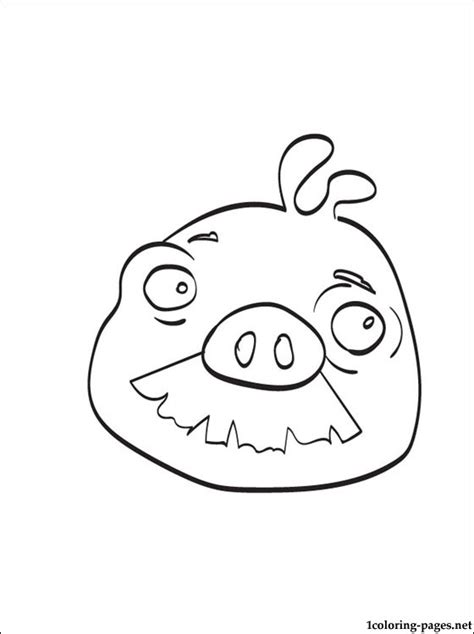 coloring page angry birds moustache pig coloring pages