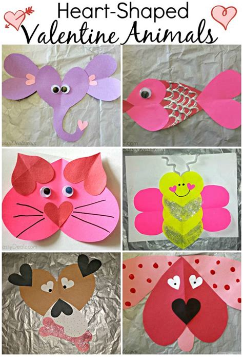 printable valentine animal crafts valentine s day heart shaped animal crafts for kids cats