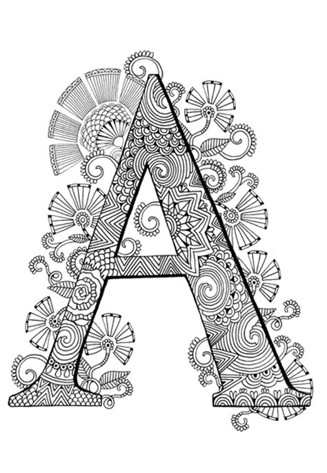 awesome mandala coloring pages letter h design printable coloring the typography colouring book adult colouring book