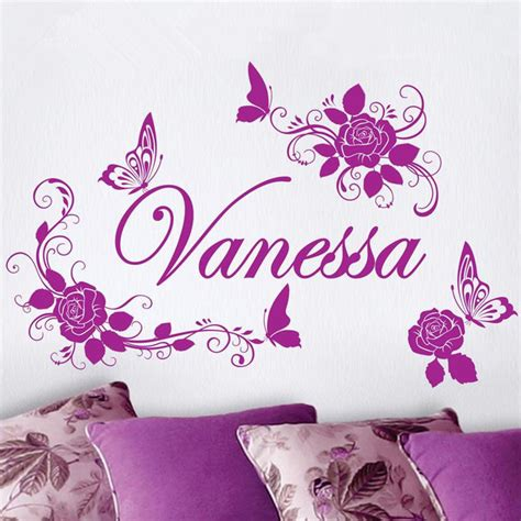 art wall decor cool and beauty with flower bedroom wall free shipping home decoration personalized custom name