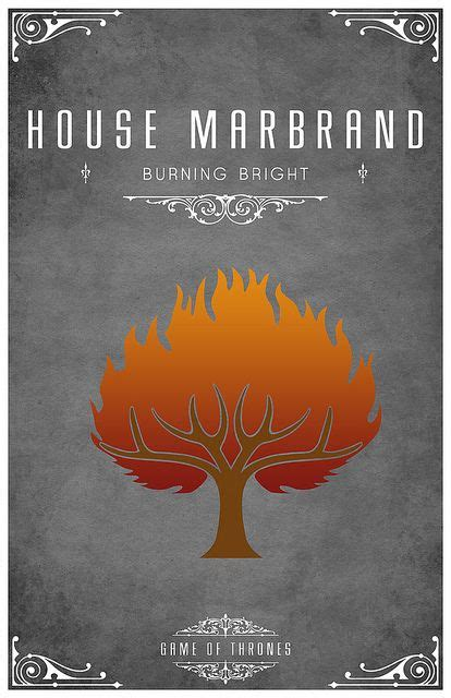 house marbrand house marbrand sigil a burning tree motto quot burning bright quot game of thrones design