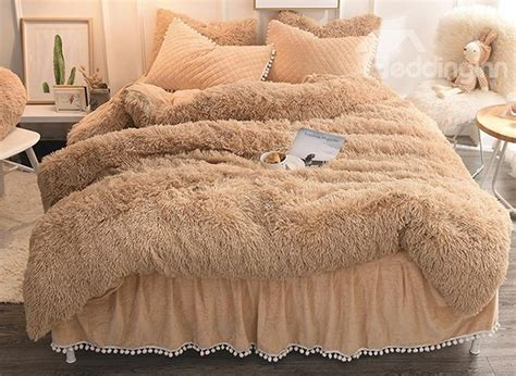 Fluffy Bedding Sets Solid Camel Quilting Bed Skirt Soft 4 Fluffy Bedding Sets Duvet Cover Beddinginn