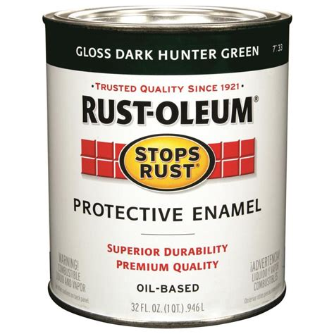 shop rust oleum stops rust green gloss based enamel interior exterior paint