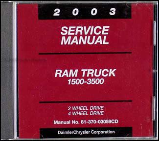 2003 dodge ram 1500 3500 truck repair shop manual cd rom original
