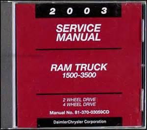 2003 dodge ram 1500 3500 truck repair shop manual cd rom