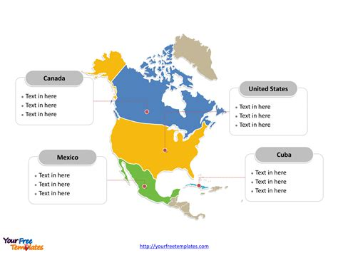 america map labeled countries free america editable map free powerpoint templates