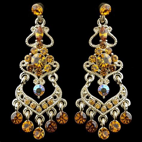 Gold Rhinestone Chandelier Earrings Gold Topaz Ab Mix Rhinestone Chandelier Earrings 8415