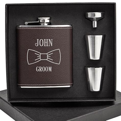 Hip Flask   Groomsmen 7 Oz. Black Leather Wrapped Personalized