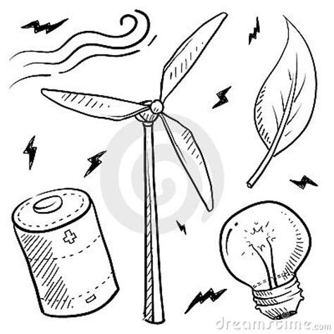 how to create energy in doodle wind energy objects sketch royalty free stock images