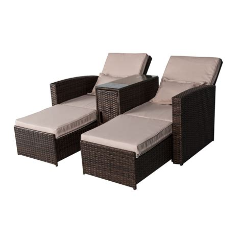 Rattan Patio Chaise Lounge by Outsunny 3 Outdoor Rattan Wicker Chaise Lounge
