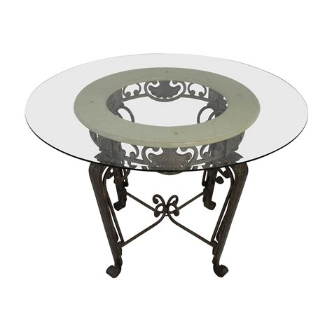 84 Scroll Metal And Glass Top Dining Table Tables 84 Scroll Metal And Glass Top Dining Table Tables