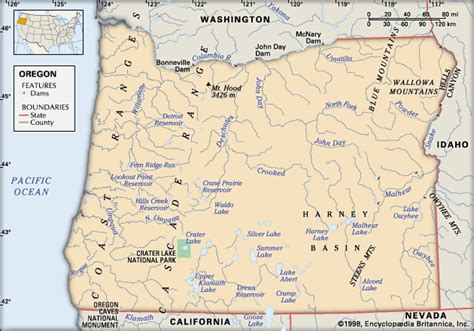 physical map of oregon oregon physical features encyclopedia children